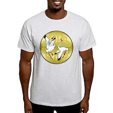 Asian Dancing Cranes on Gold Medallion T-Shirt