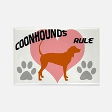 coonhounds rule w/ heart Rectangle Magnet