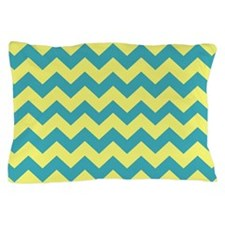 Teal and Yellow Chevron Pillow Case