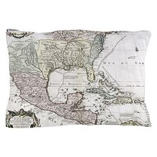 Mexico Antiquarian Map Pillow Case