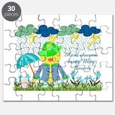 Cute Duck April Showers Bring May Flowers Puzzle