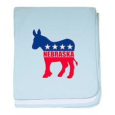 Nebraska Democrat Donkey baby blanket
