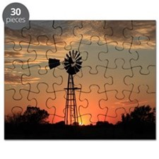Kansas Country Golden Windmill Silhouette Puzzle