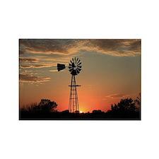 Kansas Country Golden Windmill Si Rectangle Magnet