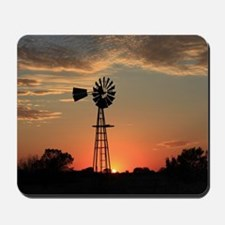 Kansas Country Golden Windmill Silhouett Mousepad