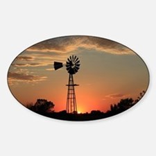 Kansas Country Golden Windmill Silh Sticker (Oval)