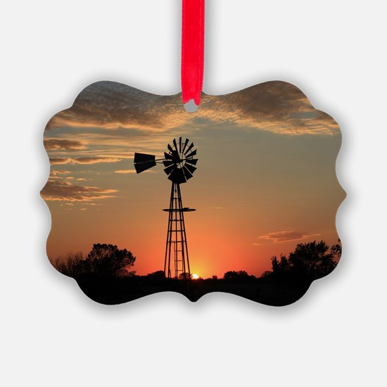 Kansas Country Golden Windmill Si Ornament