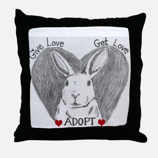 Rabbit Rescue Adoption Throw Pillow