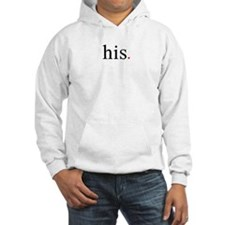 his, word art, text design with red heart Hoodie