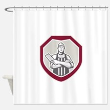 Butcher With Meat Cleaver Shield Retro Shower Curt
