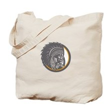 Native American Indian Chief Head Woodcut Tote Bag