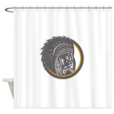 Native American Indian Chief Head Woodcut Shower C