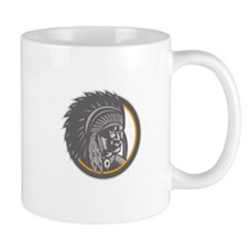 Native American Indian Chief Head Woodcut Mugs