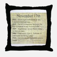 November 17th Throw Pillow