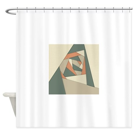 Earth Tone Shapes Construct Shower Curtain