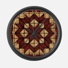 Wooden Quilt Large Wall Clock