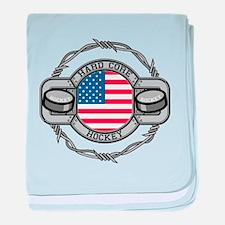 USA Hard Core Hockey baby blanket