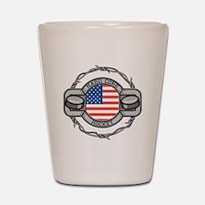USA Hard Core Hockey Shot Glass