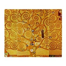 Gustav Klimt Tree of Life Art Nouveau Throw Blanke
