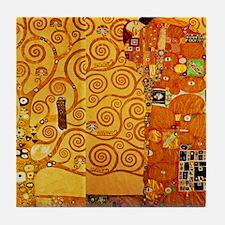 Gustav Klimt Tree of Life Art Nouveau Tile Coaster