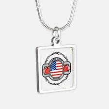 USA Hard Core Boxing Silver Square Necklace