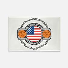 USA Hard Core Basketball Rectangle Magnet