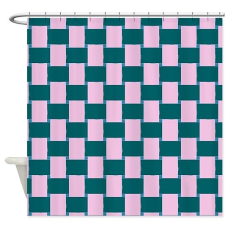 Woven Pink And Teal Shower Curtain By ShowerCurtainsWorld