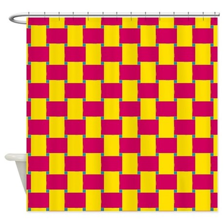 Woven Yellow And Red Shower Curtain By Showercurtainsworld
