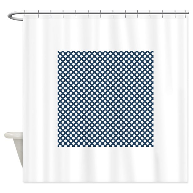 Navy Blue And White Polka Dots 3 Shower Curtain By