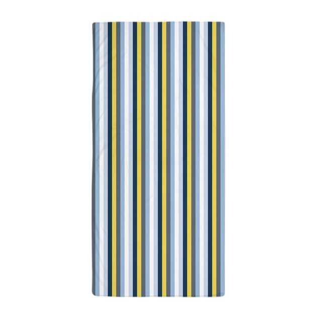 Navy Light Blue Yellow Gray Stripes Beach Towel By