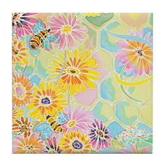 Honey Bee Happy Tile Coaster