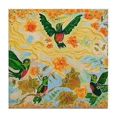 Hummingbird Friends Tile Coaster