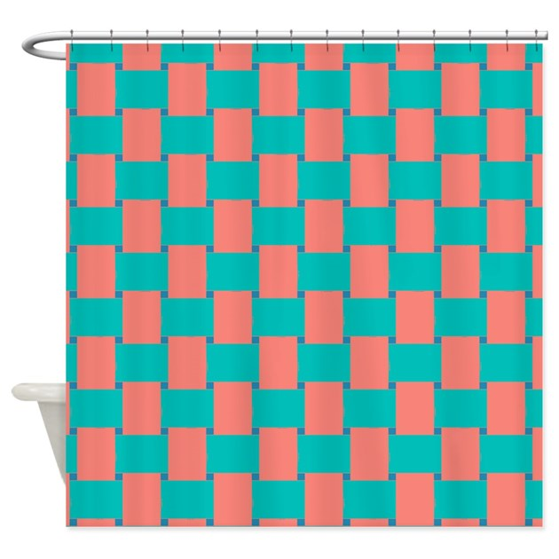 woven coral and turquoise shower curtain by