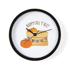 Happy Fall Y'All! Wall Clock