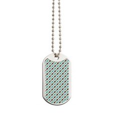 Retro Teal and Brown Pattern Dog Tags