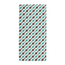 Retro Teal and Brown Pattern Beach Towel