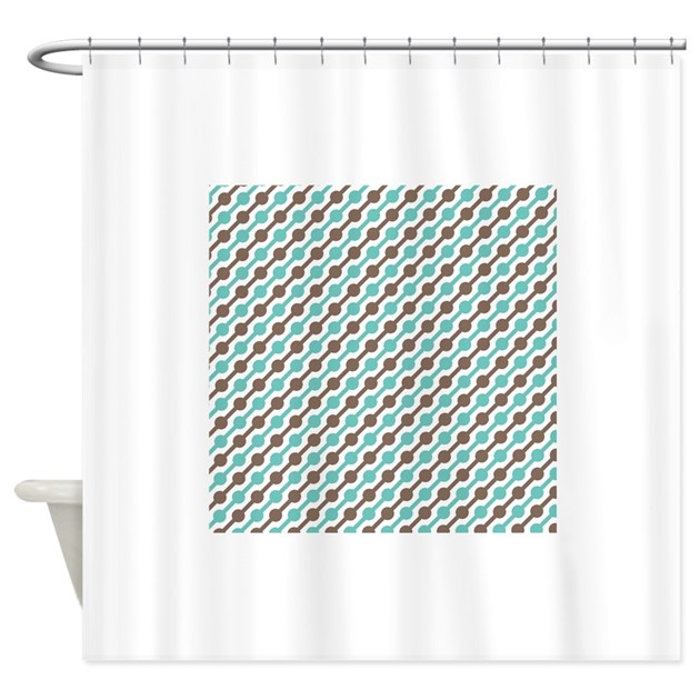 Retro Teal And Brown Pattern 3 Shower Curtain By