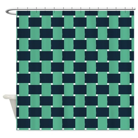 Woven Navy Blue And Green Shower Curtain By ShowerCurtainsWorld