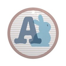 Nursery Bunny with Letter A Ornament (Round)