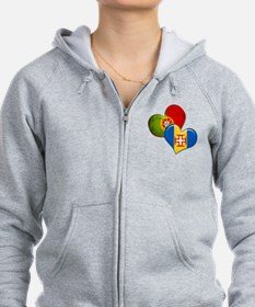 Portugal and Madeira hearts Zip Hoodie