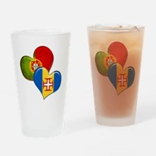 Portugal and Madeira hearts Drinking Glass