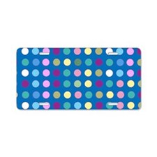 Polka Dots on Turquoise Aluminum License Plate
