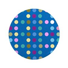 "Polka Dots on Turquoise 3.5"" Button"
