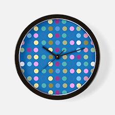 Polka Dots on Turquoise Wall Clock