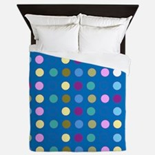 Polka Dots on Turquoise Queen Duvet