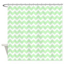 Mint White Chevron Pattern Shower Curtain