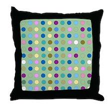 Polka Dots on Mint Throw Pillow