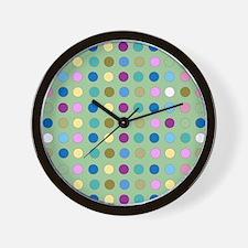 Polka Dots on Mint Wall Clock