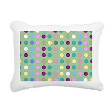 Polka Dots on Mint Rectangular Canvas Pillow