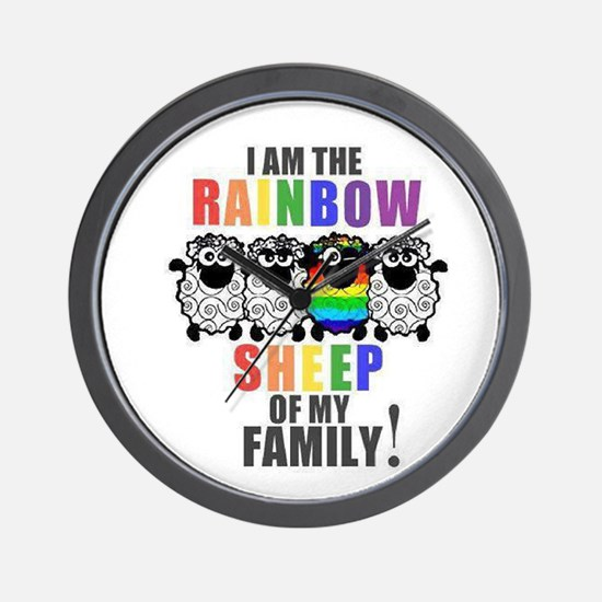 Rainbow Family Sheep Wall Clock